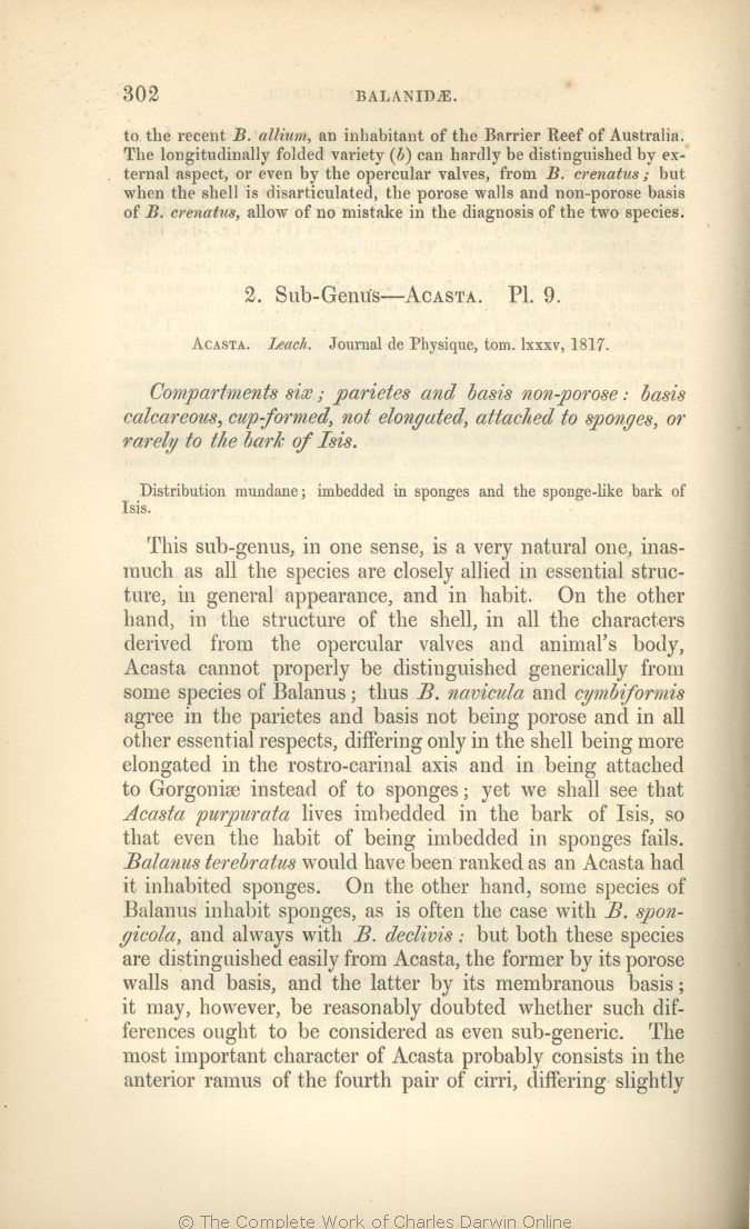 Darwin, C  R  1854  A monograph on the sub-class Cirripedia, with