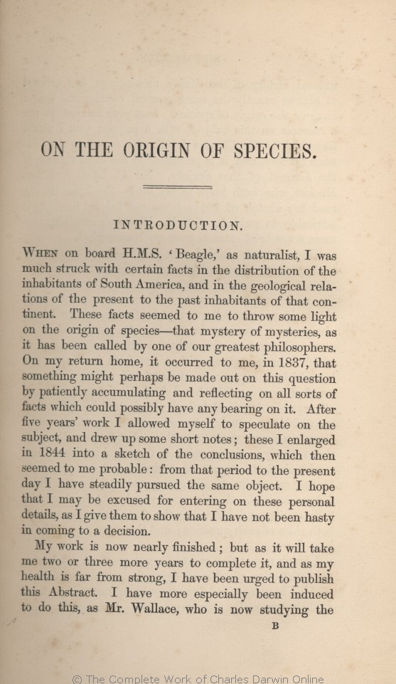 an introduction to the origin of species In addition to biological status (represented as occurrence, provenance and invasiveness), annotations included higher taxonomy, origin of species, introduced location, as well as (where available) information on the date of first record/introduction and pathway of introduction.