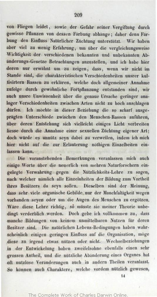 Darwin, C. R. 1860. Über Die Entstehung Der Arten Im Thier  Und  Pflanzen Reich Durch Natürliche Züchtung, Oder, Erhaltung Der  Vervollkommneten Rassen Im ...