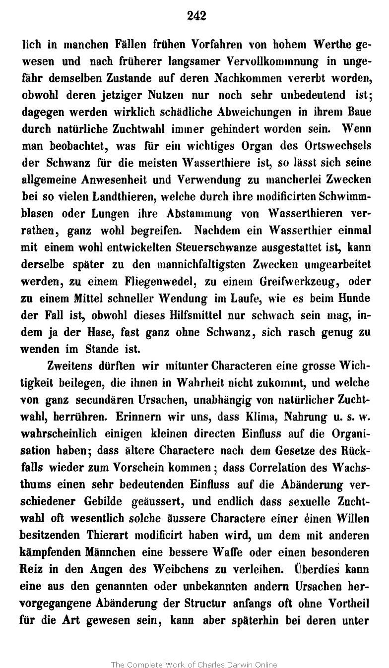 Darwin C R 1867 Die Entstehung Der Arten Im Thier Und Pflanzen