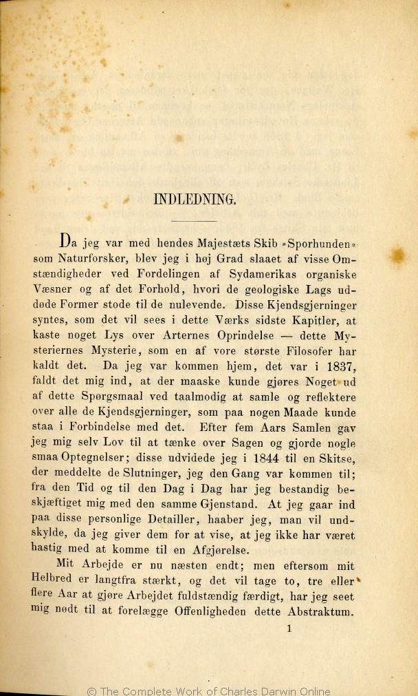 arternes oprindelse på dansk