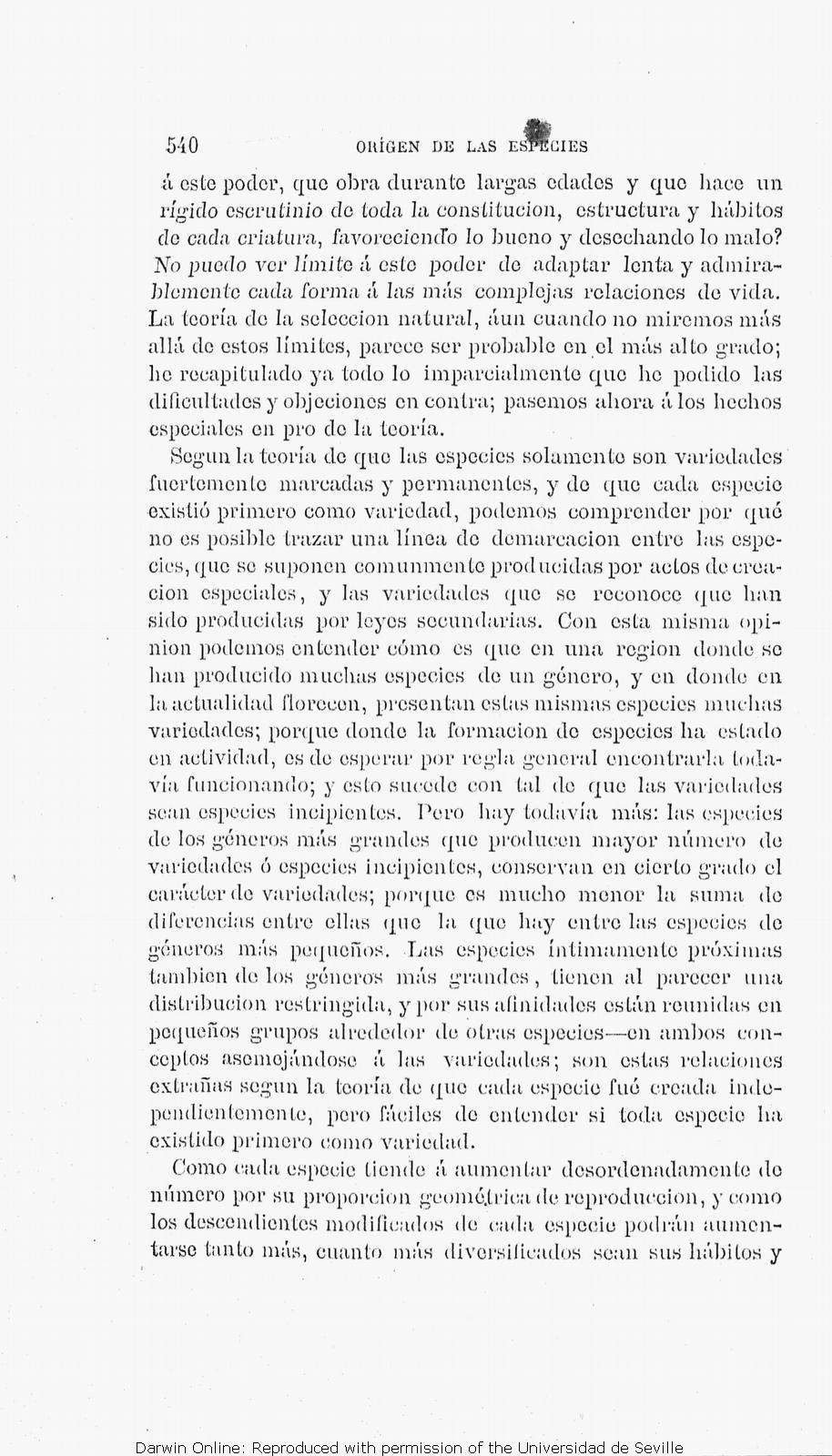 ff0314f6cef TDarwin, C. R. [1877]. Orígen de las especies por medio de la selección  natural ó la conservación de las razas favorecidas en la lucha por la  existencia.