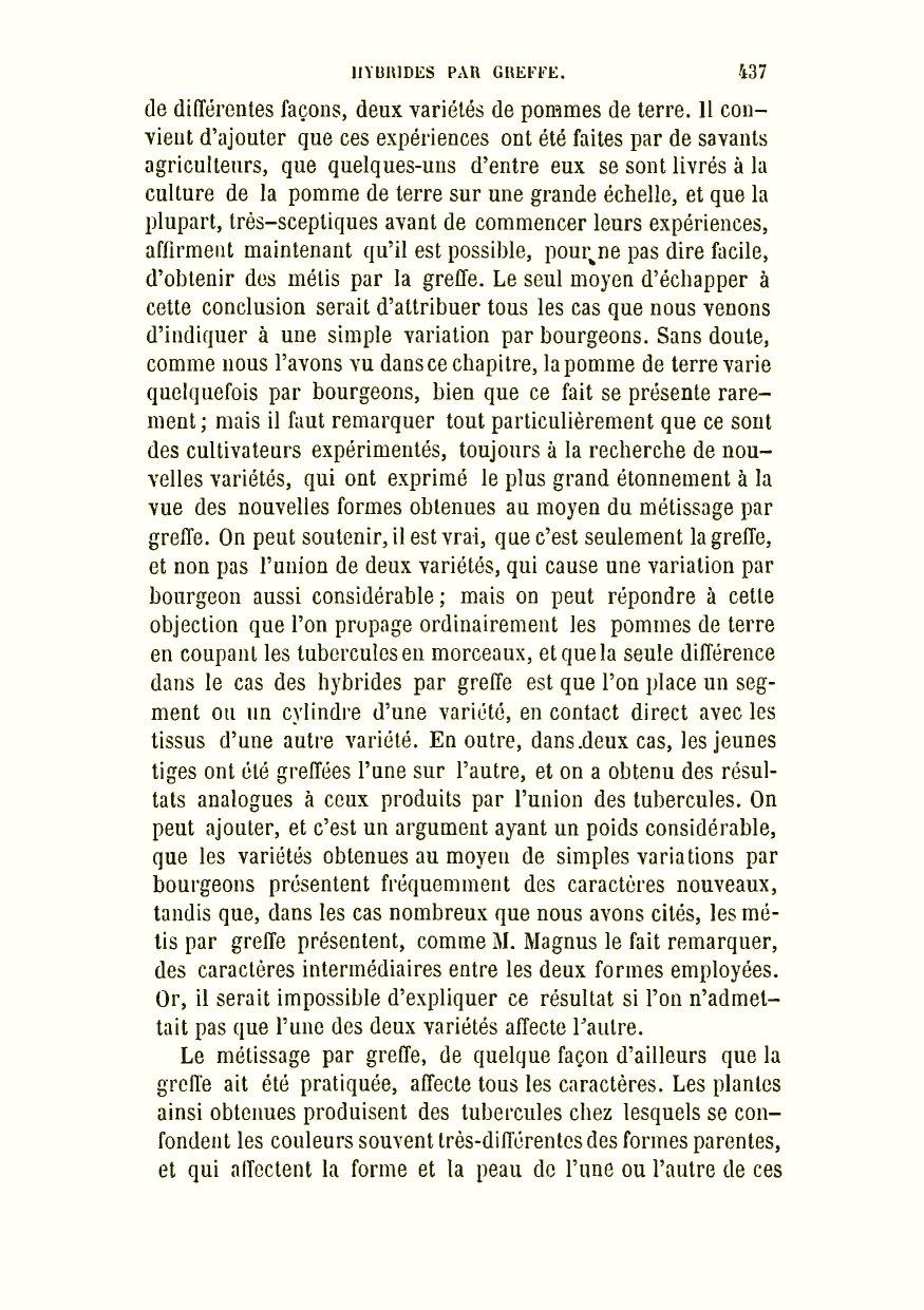 Darwin, C. R. 1879. De la variation des animaux et des plantes à l état  domestique. Traduit sur la seconde édition anglaise par Ed. Barbier   préface de Carl ... 922b50321371