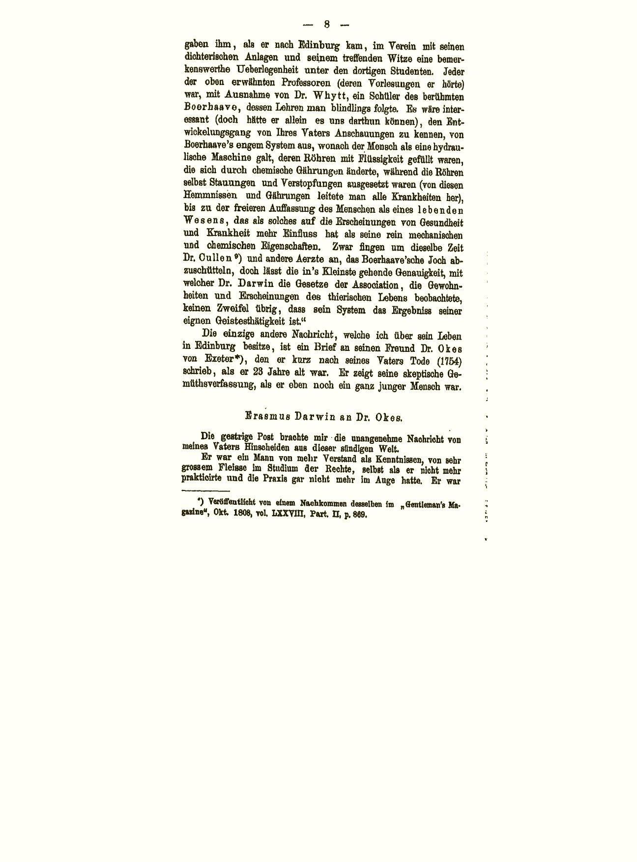 Darwin, C. R. 1880. Erasmus Darwin und seine Stellung in der ...