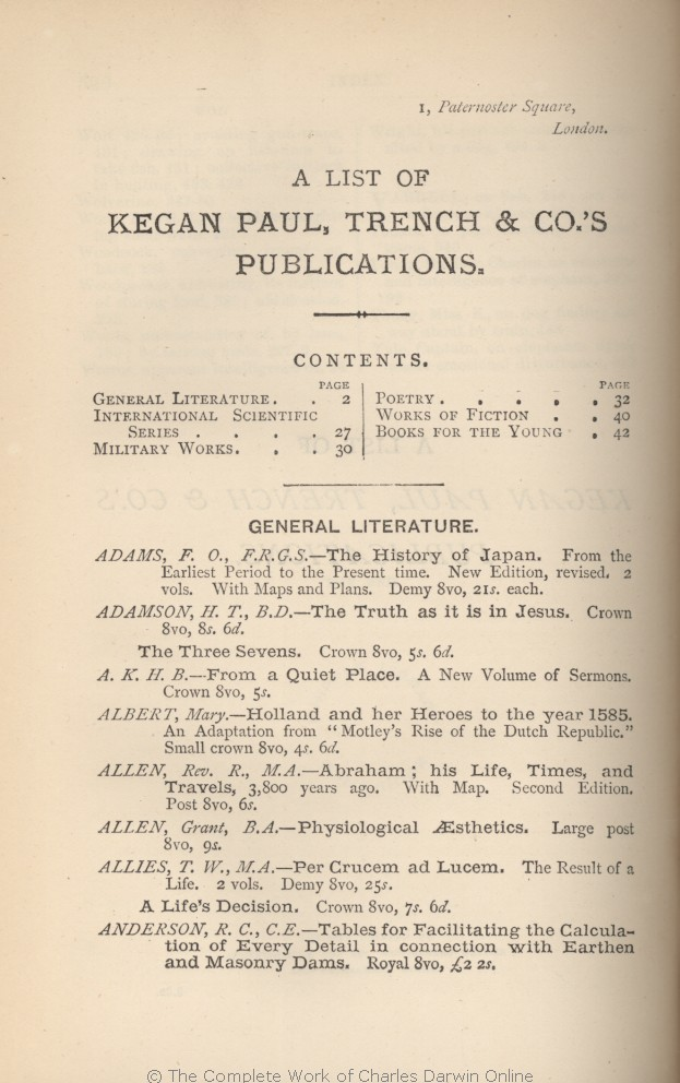 arwin, C  R  1882  [Extracts from Darwin's notes] In G  J  Romanes