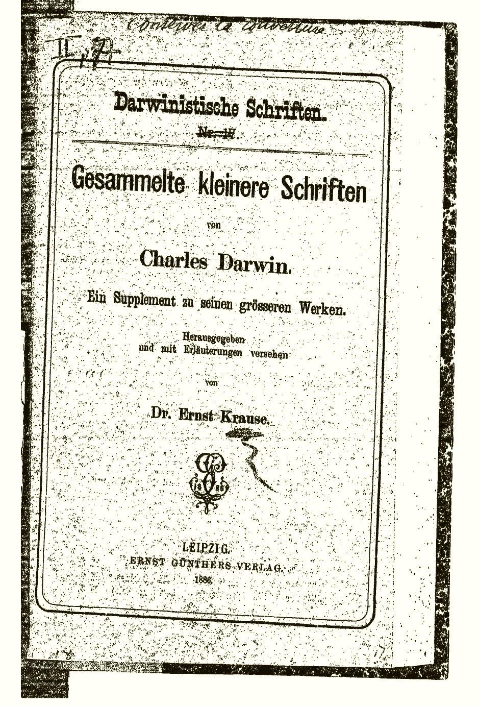 Darwin, C. R. 1885-6. Gesammelte kleinere Schriften von Charles ...