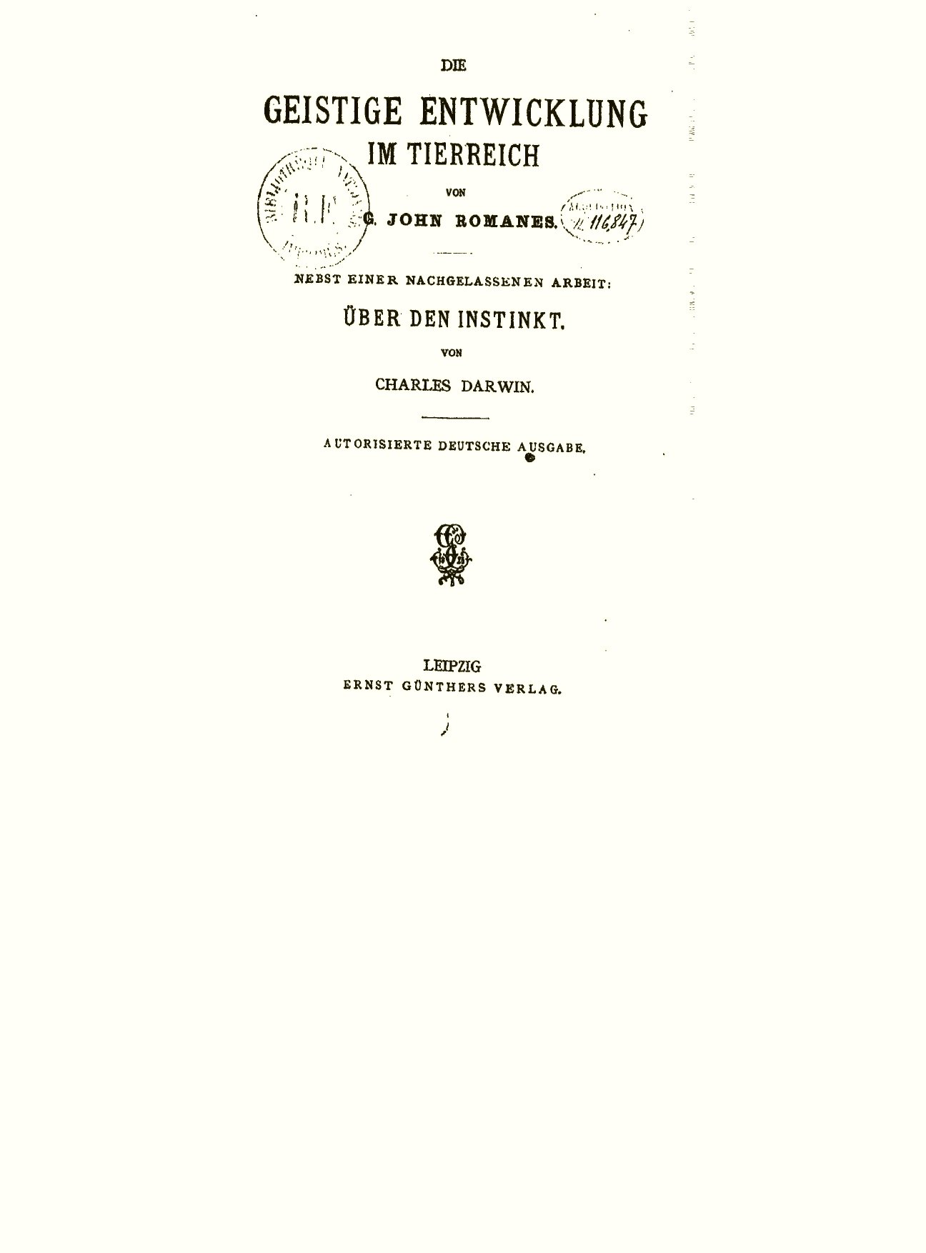 Darwin, C. R. 1887. Über den Instinkt. In G. J. Romanes, Die ...