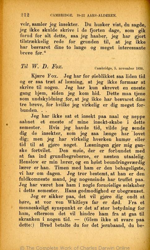 db87e552ac8 Darwin, F. ed. 1889. Charles Darwins liv og breve med et kapitel  selvbiografi. Translated by Martin Simon Søraas. Fagerstrand pr. Høvig:  Bibliothek for de ...