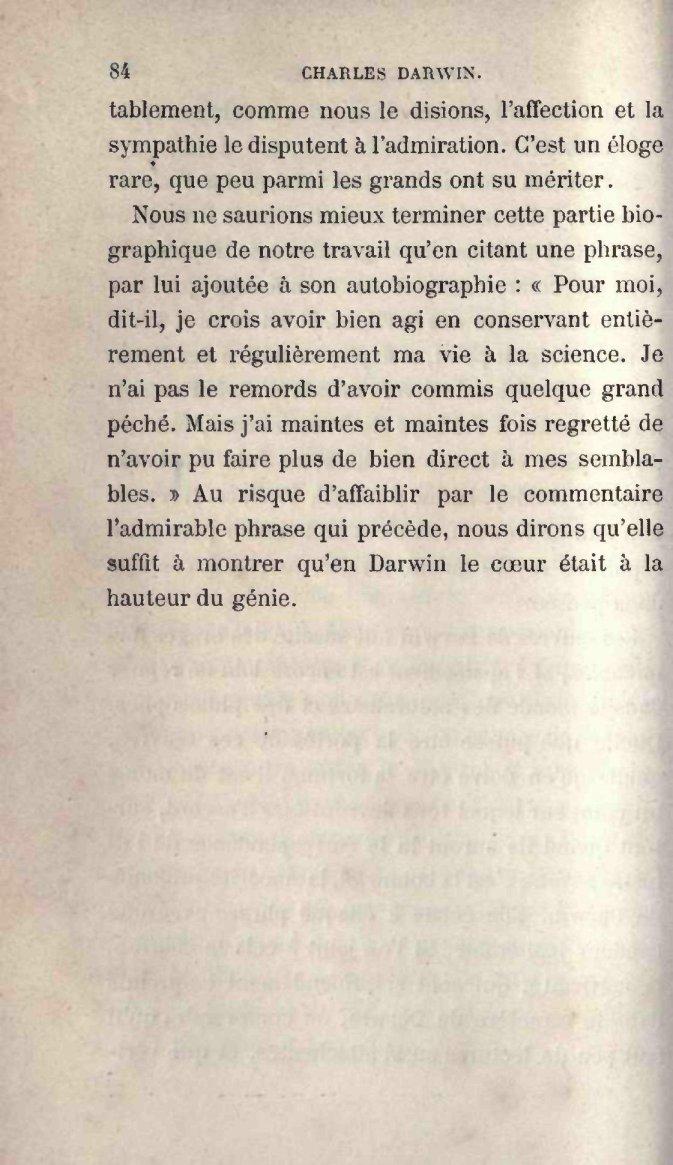 de Varigny, H  1889  Charles Darwin  Paris: Librairie Hachette