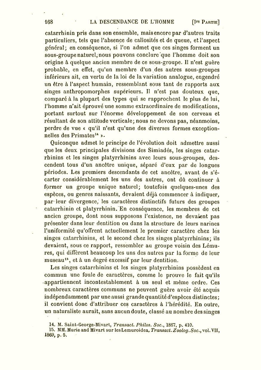 Darwin C R 1891 La Descendance De L Homme Et La Selection