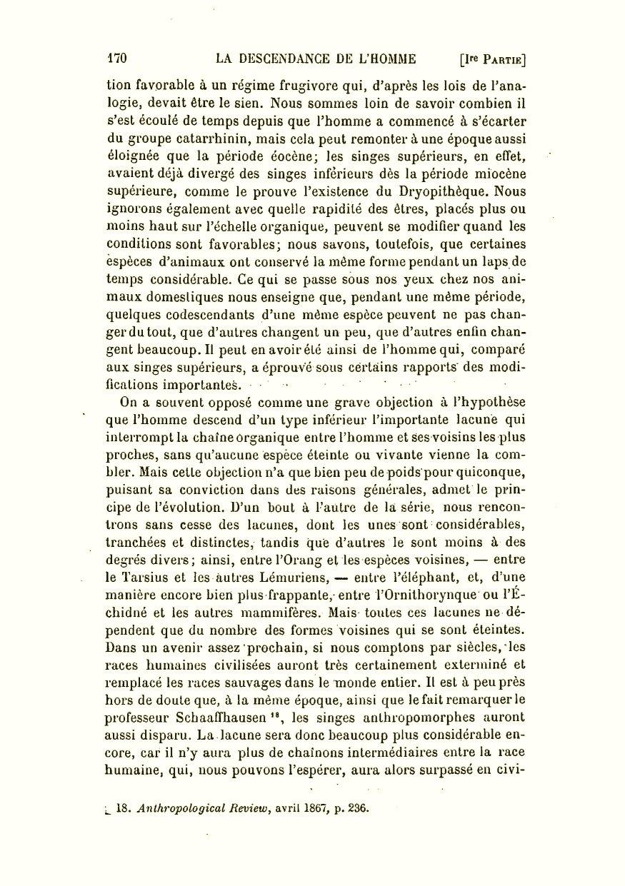 Darwin, C. R. 1891. La descendance de l homme et la sélection sexuelle.  Trans. by Edmond Barbier. Preface by Carl Vogt. Paris  C. Reinwald. e67bc4cdb51