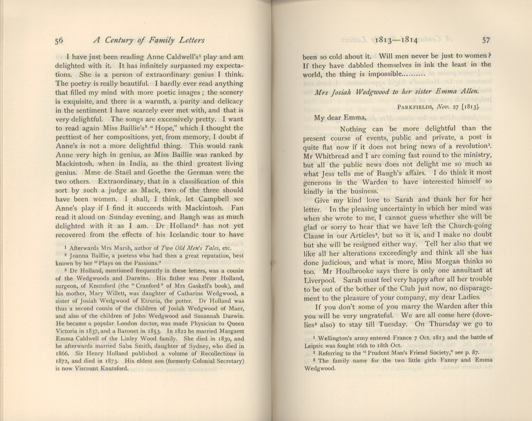 Emma Darwin, wife of Charles Darwin. A century of family letters.  Cambridge: University Press printed. Volume 1.