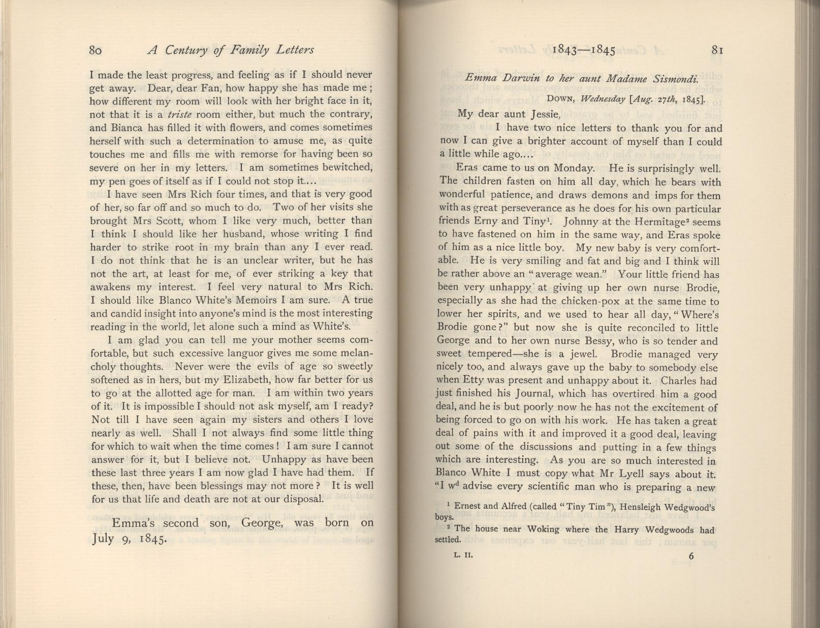 Litchfield, H. E. ed. 1904. Emma Darwin, wife of Charles Darwin. A century  of family letters. Cambridge: University Press printed. Volume 2.