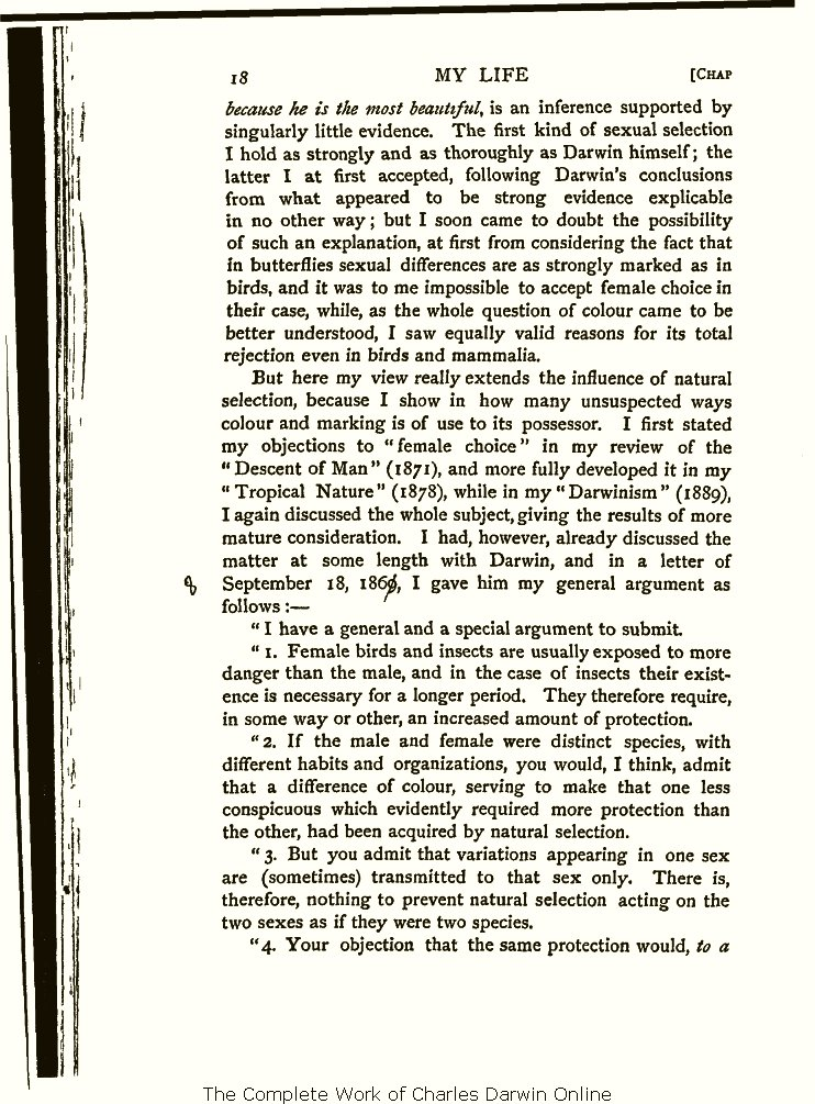 Wallace, A. R. 1905. My life  A record of events and opinions. London   Chapman and Hall. Volume 2. b2cffdd78f4d