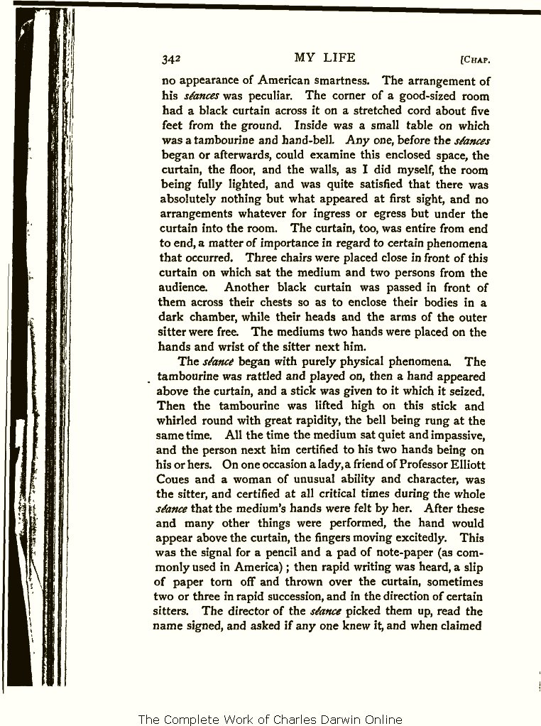 1a0dbfc3 Wallace, A. R. 1905. My life: A record of events and opinions. London:  Chapman and Hall. Volume 2.