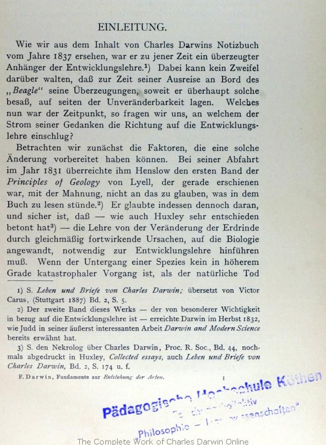 Darwin, Francis ed. 1911. Die Fundamente zur Entstehung der Arten ...