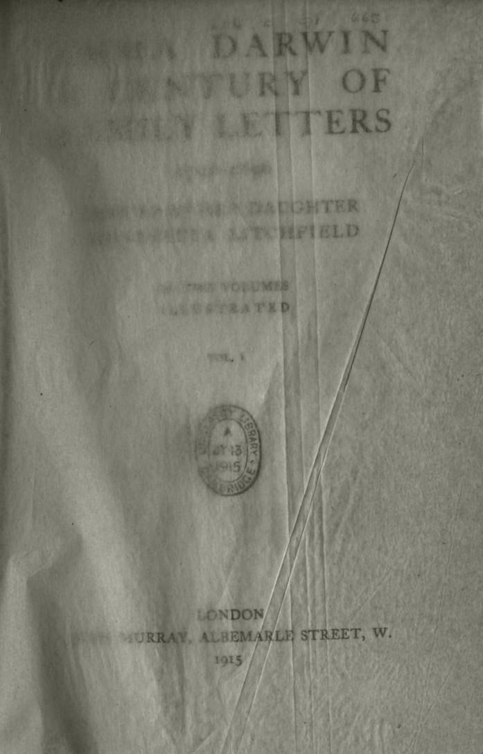 Litchfield, H  E  ed  1915  Emma Darwin, A century of family