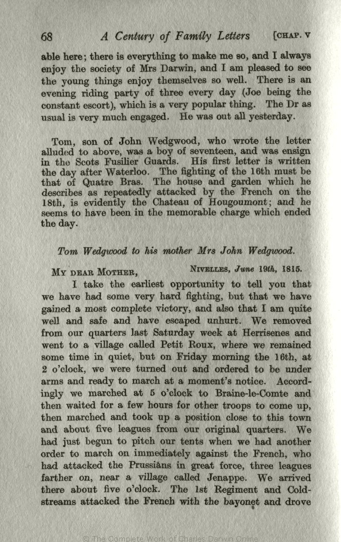 ad734054fb39 Litchfield, H. E. ed. 1915. Emma Darwin, A century of family letters,  1792-1896. London: John Murray. Volume 1.
