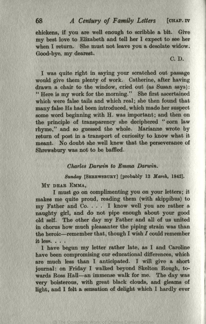 Litchfield, H. E. ed. 1915. Emma Darwin, A century of family letters,  1792-1896. London: John Murray. Volume 2.