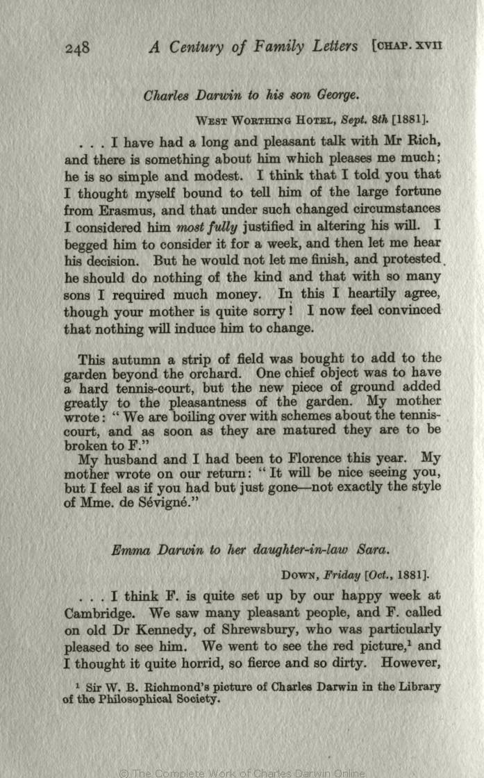 Litchfield H E Ed 1915 Emma Darwin A Century Of Family Letters