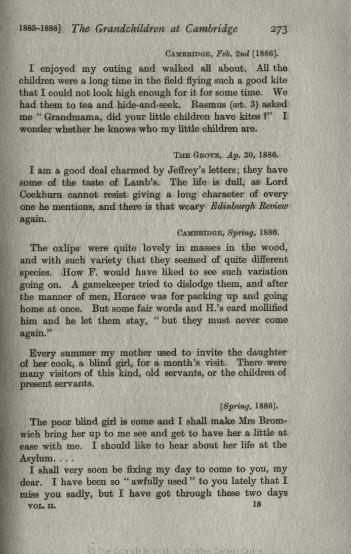 f87138ca541c9f Litchfield, H. E. ed. 1915. Emma Darwin, A century of family letters,  1792-1896. London: John Murray. Volume 2.
