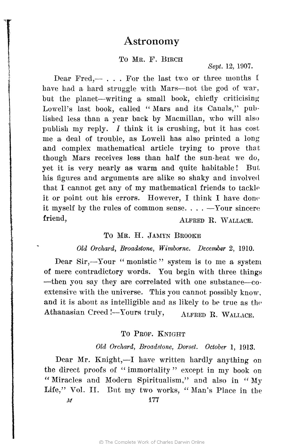 6ada66aa96508 Marchant, James ed. 1916. Alfred Russel Wallace letters and reminiscences.  London: Cassell. Volume 2.