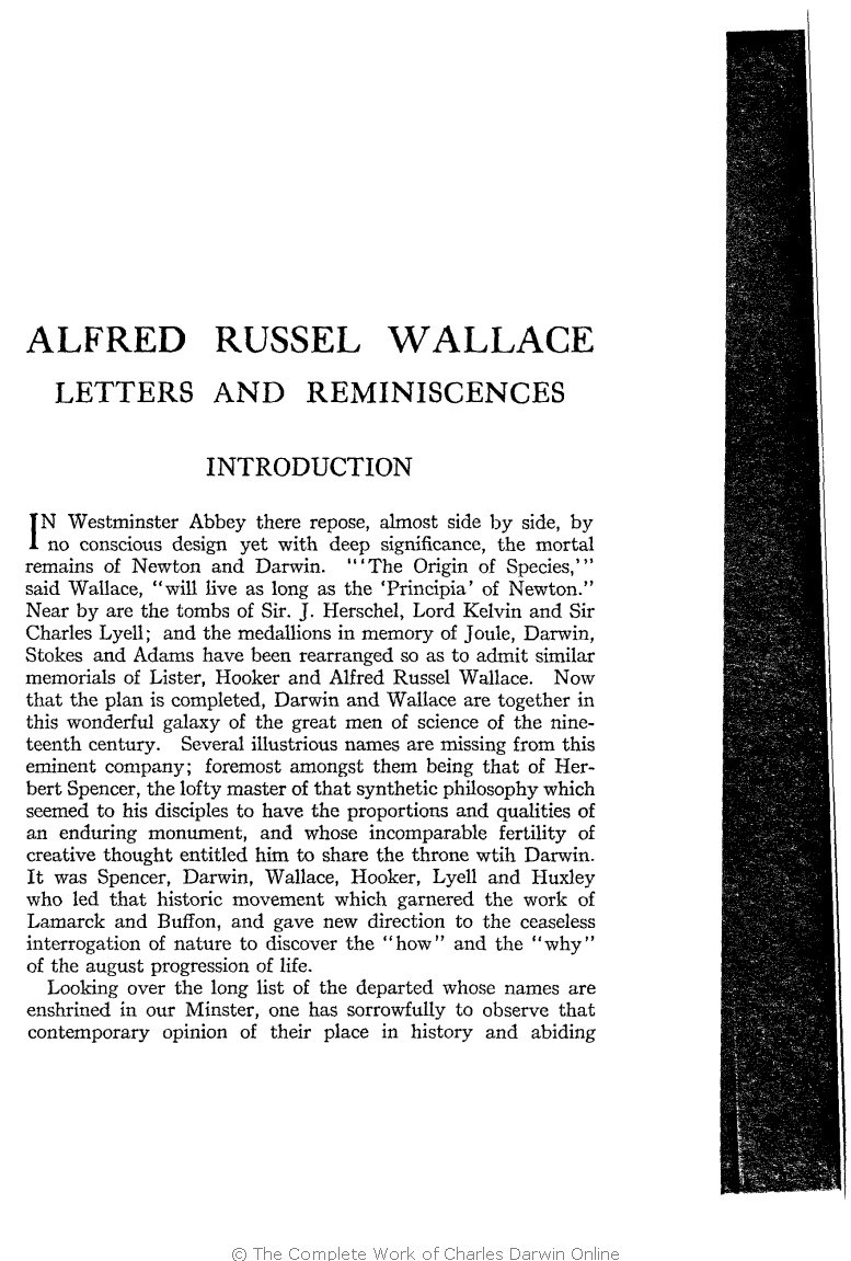 Marchant, James ed. 1916. Alfred Russel Wallace letters and ...