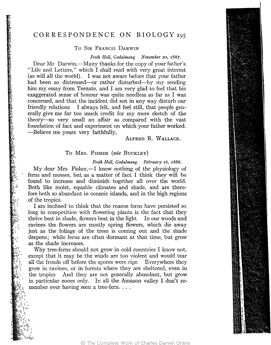bce60fbfe301 Marchant, James ed. 1916. Alfred Russel Wallace letters and reminiscences.  New York: Harper & Brothers.
