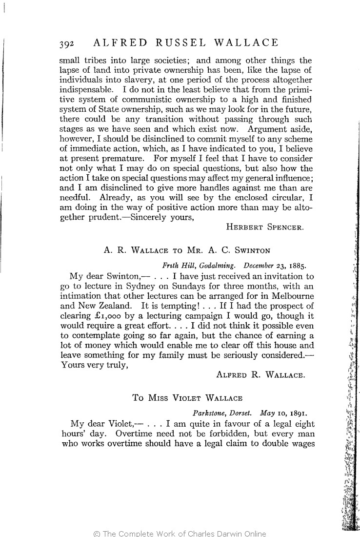 Marchant, James ed  1916  Alfred Russel Wallace letters and