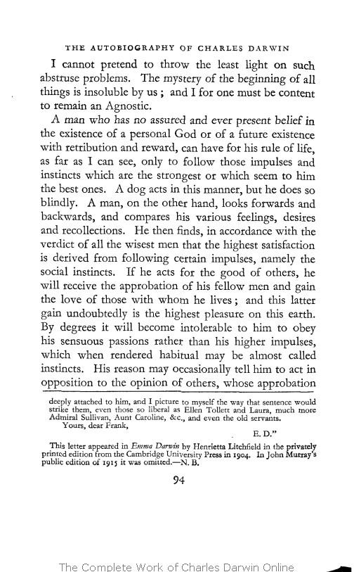 Barlow Nora Ed 1958 The Autobiography Of Charles Darwin 1809 1882