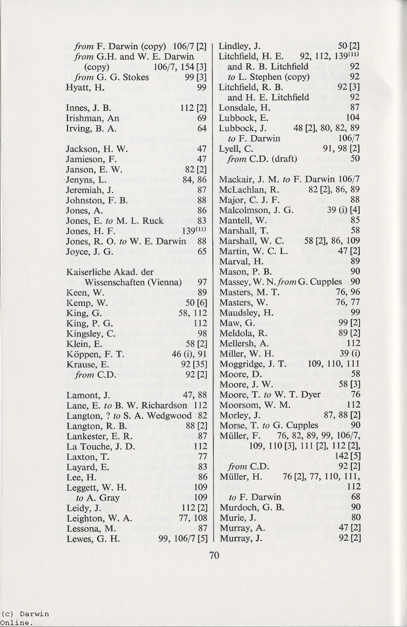 1960  Handlist of Darwin papers at the University Library