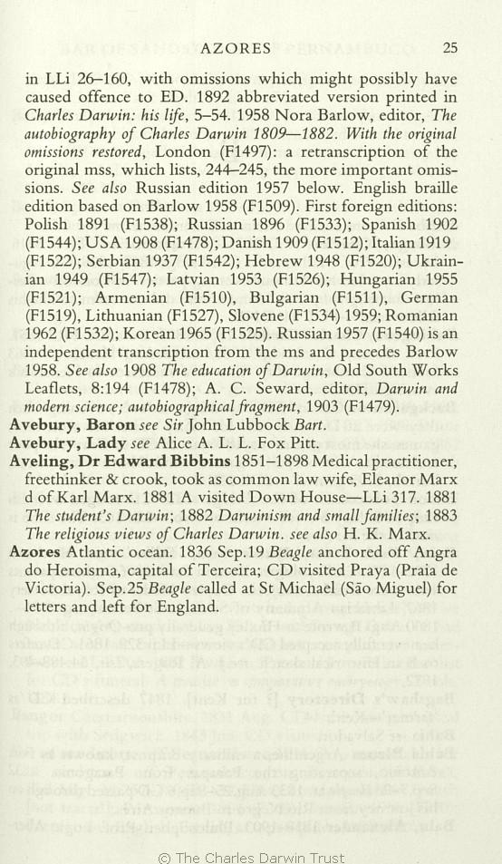 Freeman R B 1978 Charles Darwin A Companion Folkstone Dawson