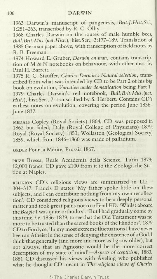 Freeman, R  B  1978  Charles Darwin: A companion  Folkstone