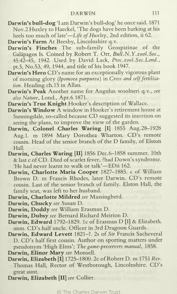 Freeman, R. B. 1978. Charles Darwin: A