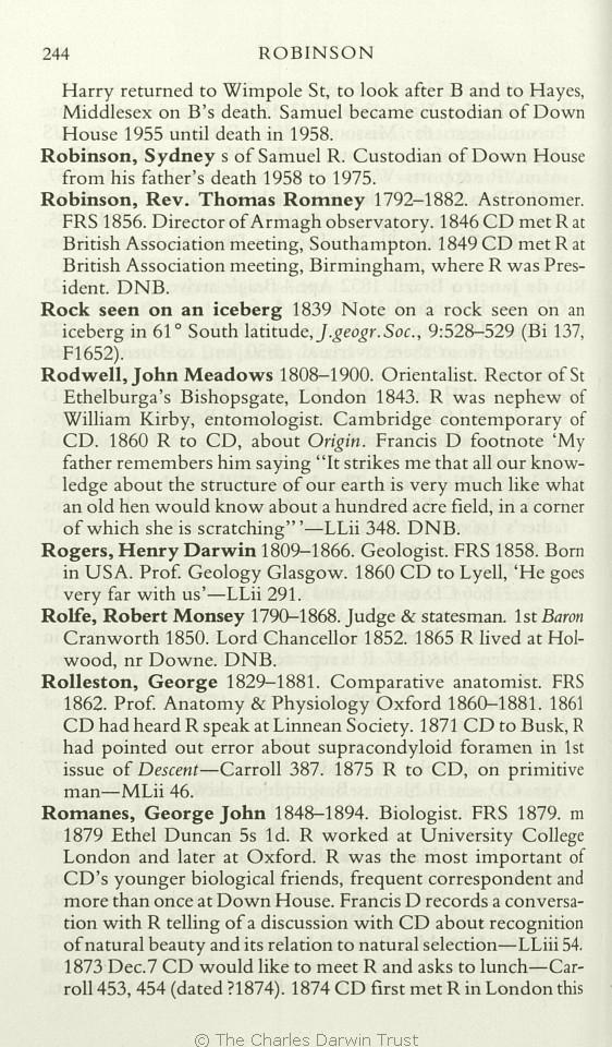 Freeman, R  B  1978  Charles Darwin: A companion  Folkstone: Dawson