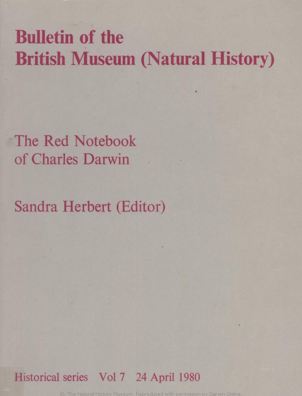 Herbert S Ed 1980 The Red Notebook Of Charles Darwin