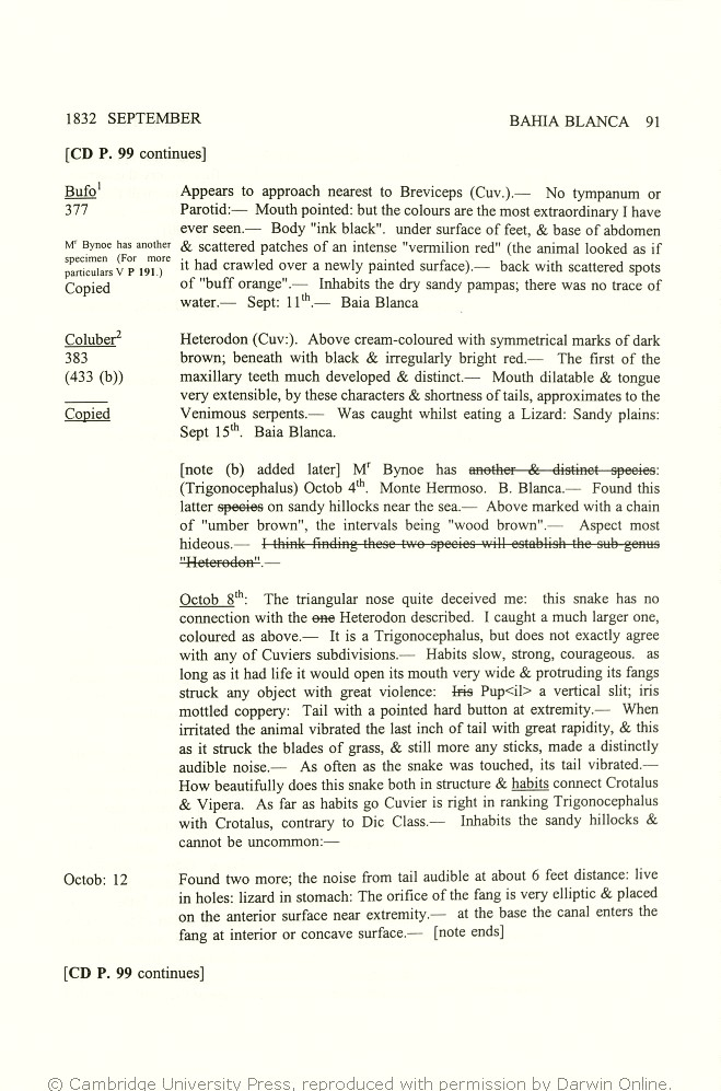 Keynes, Richard ed. 2000. Charles Darwin's zoology notes & specimen lists  from H.M.S. Beagle. Cambridge: Cambridge University Press.