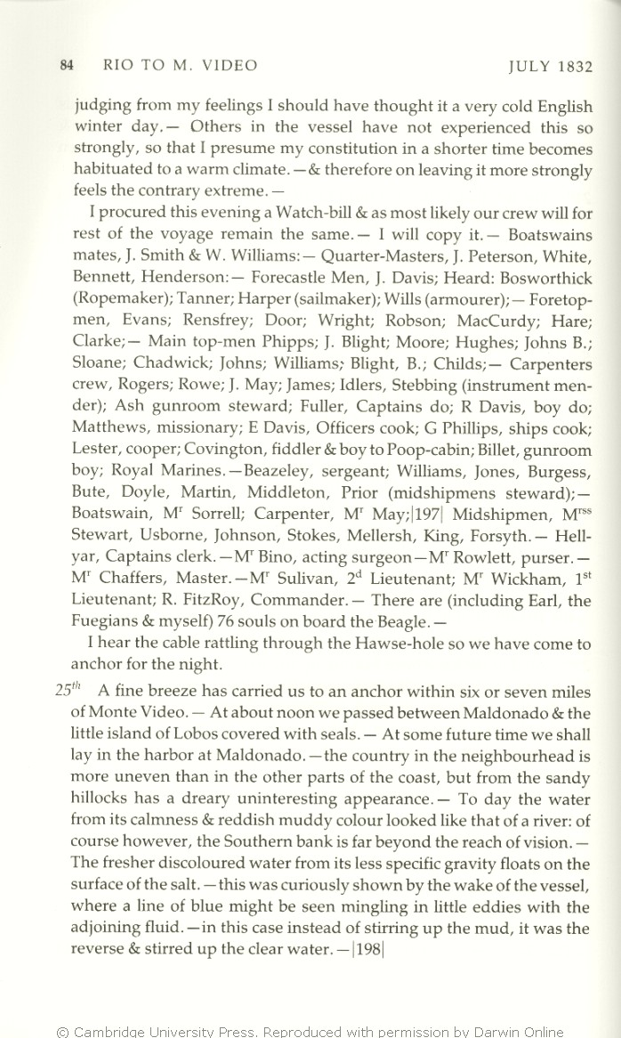 Charles Darwin's Beagle diary. Cambridge: Cambridge University Press.
