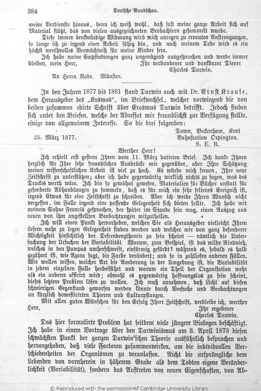 Preyer, William Thierry. 1891. Briefe von Darwin. mit Erinnerungen ...