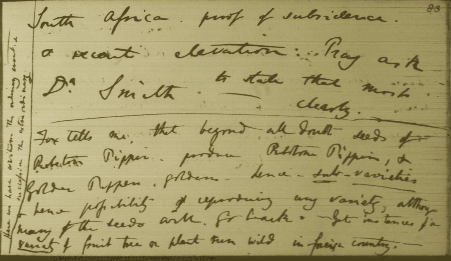 Darwin, C. R. Notebook B: [Tranation of species (1837 ... on