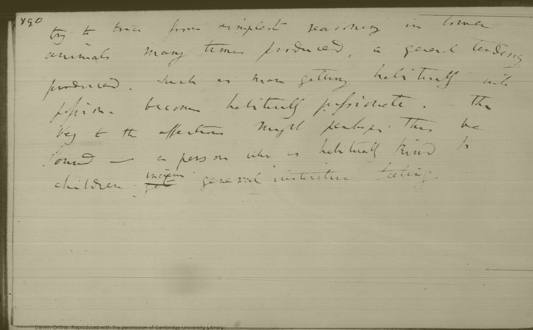 Photograph of Darwin's notebook C, p. 166