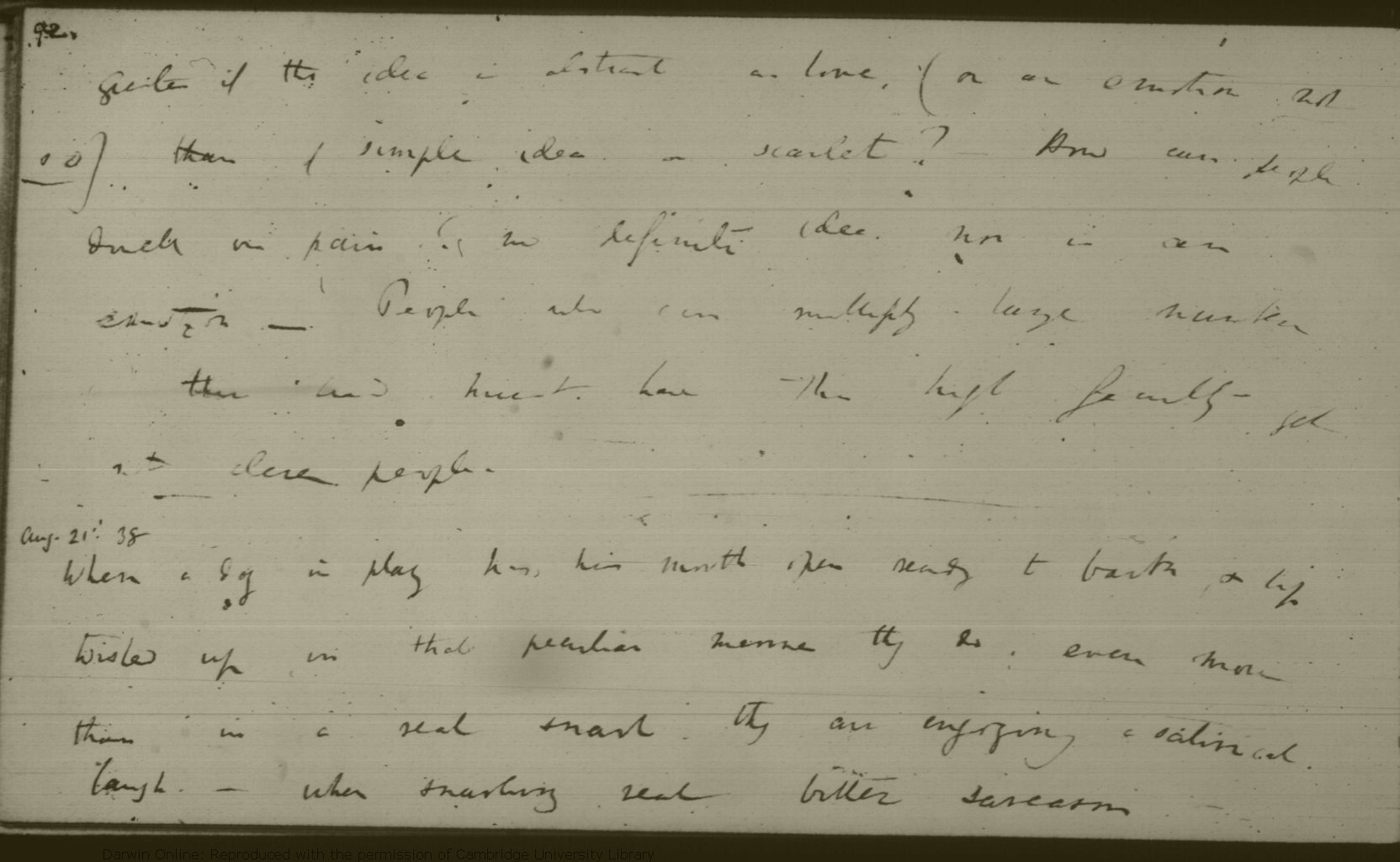 8ae9a84d0008 Darwin, C. R. Notebook M : [Metaphysics on morals and speculations on  expression (1838)]. CUL-DAR125.-