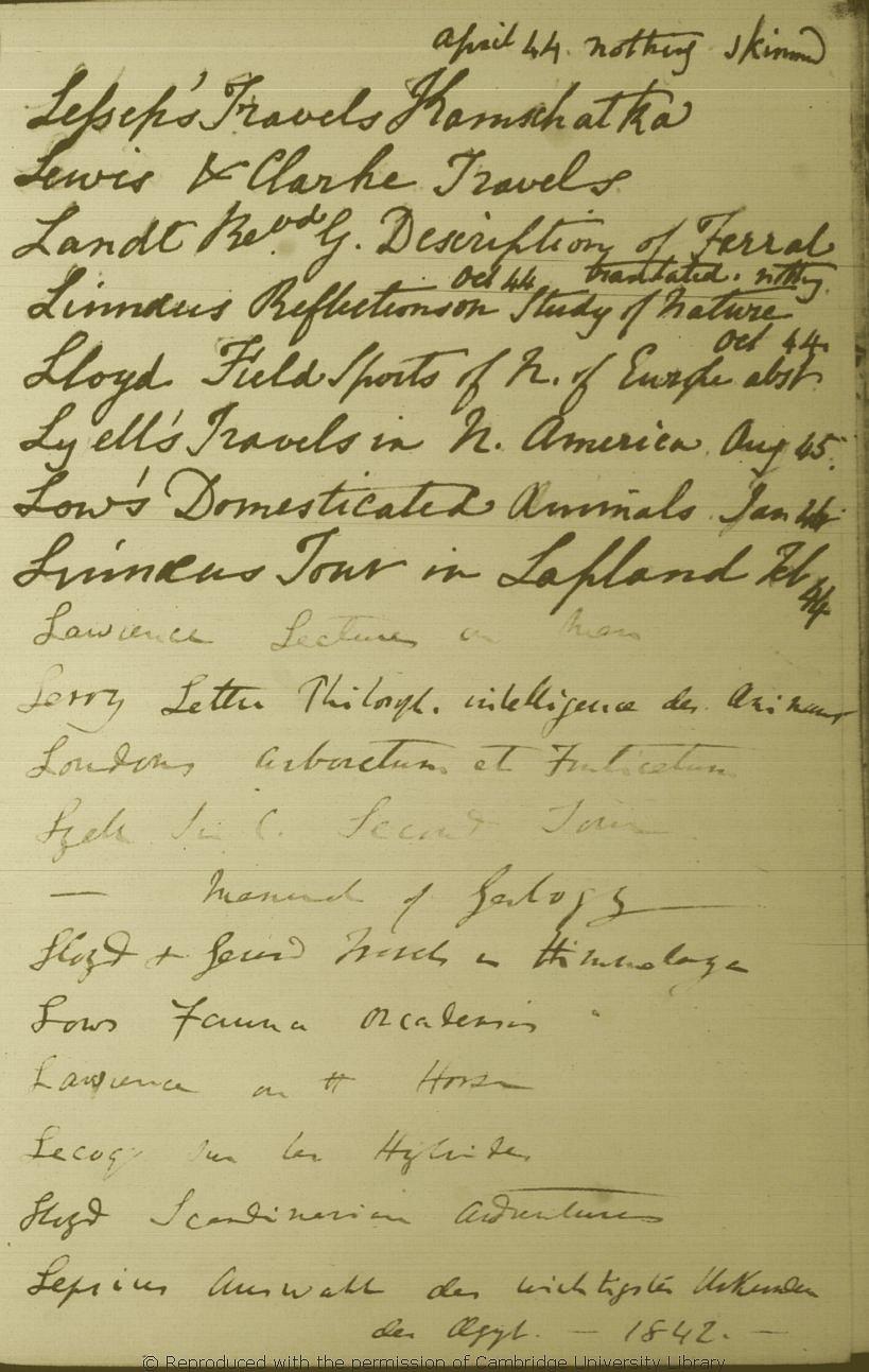 Darwin, C. R. \'Books [read]\' notebook. (1838-1858). CUL-DAR120 ...