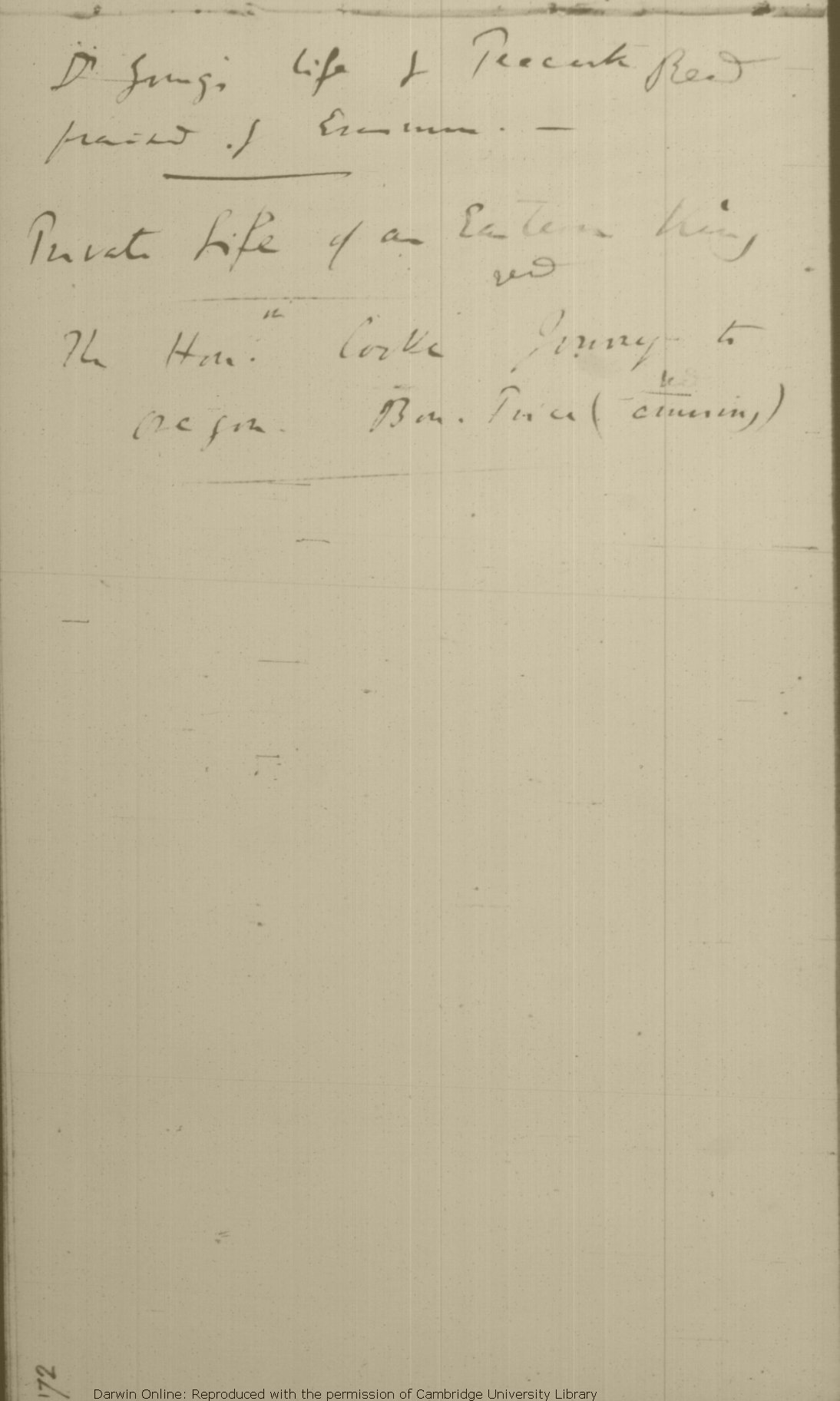 Darwin, C. R. \'Books Read\' and \'Books to be Read\' notebook. (1852 ...