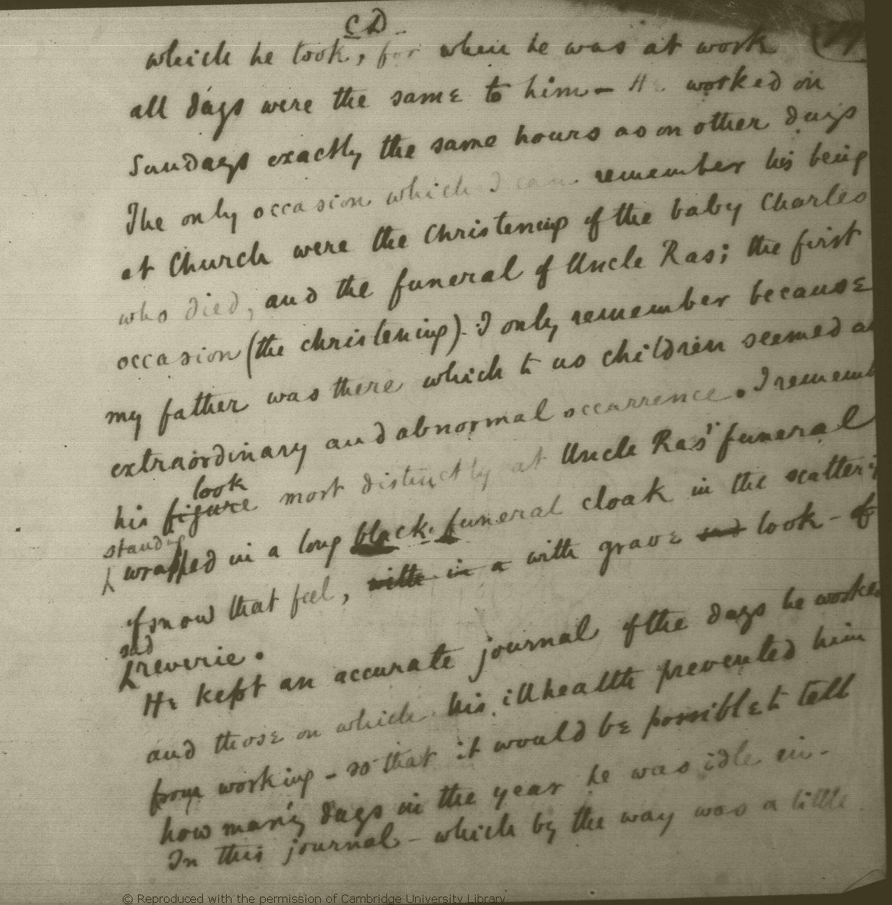 Darwin, Francis  c  1884  [Preliminary draft of