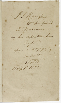 Henslow's inscription on the flyleaf of Humboldt's Personal narrative, from the Darwin Library.